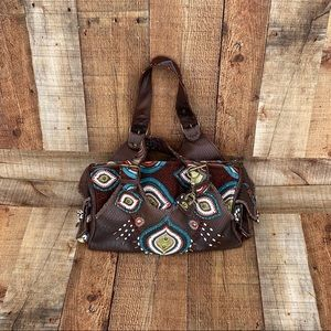 Vtg Mary Frances Brown Leather Bag